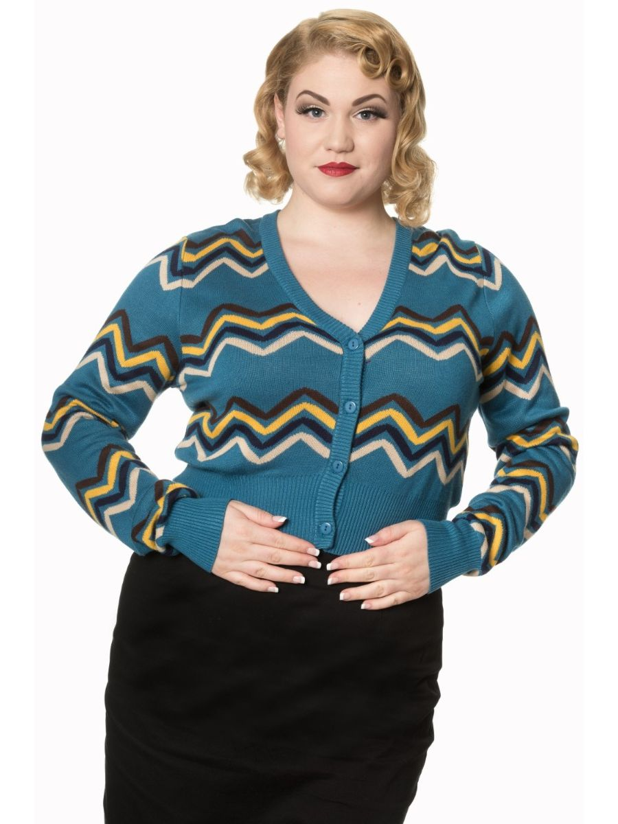 Banned Retro 60's Good Vibes Geo Cropped Vintage Cardigan Blue