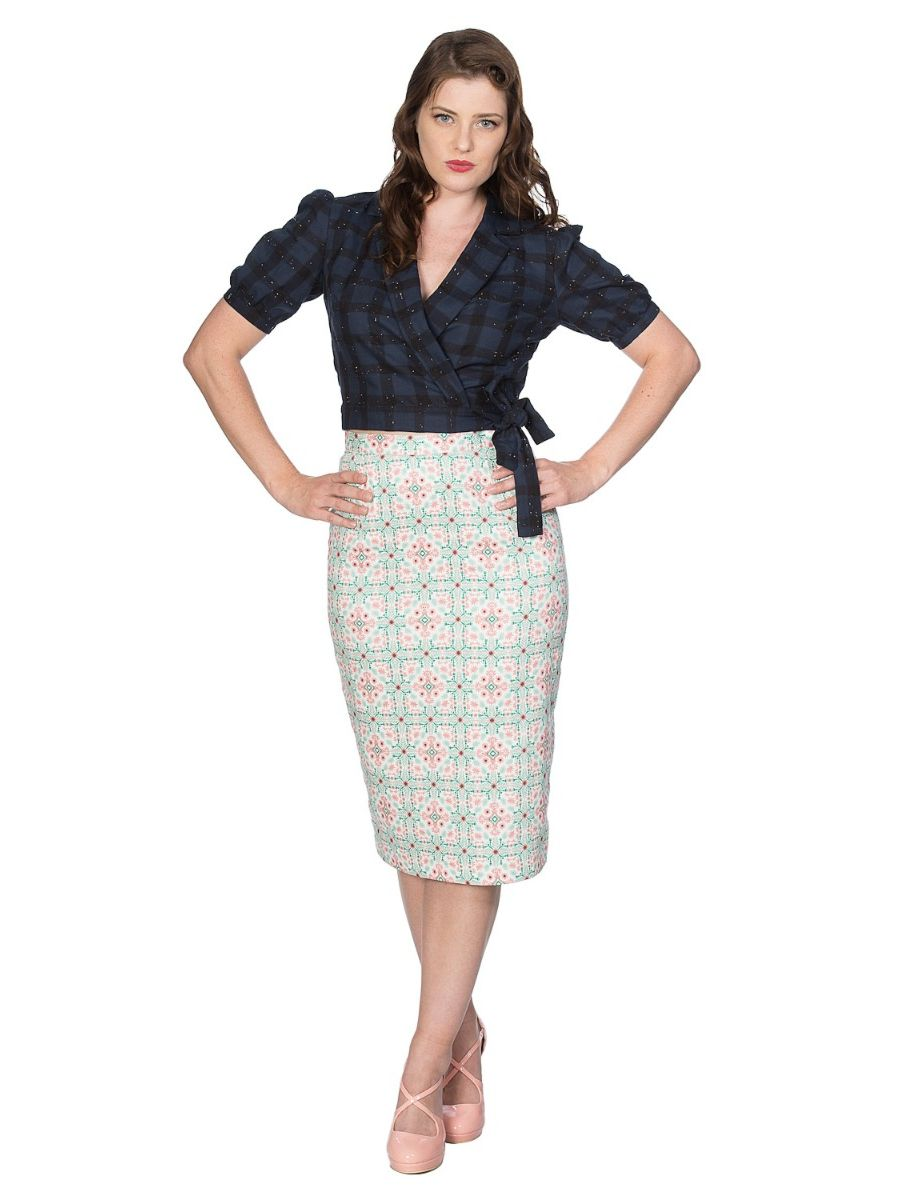Banned Retro 1950's Seaside Picnic Wrap Check Crop Top Blouse Navy