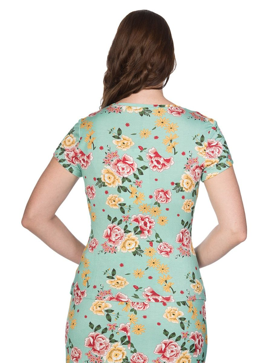 Banned Retro Oriental Bloom Floral Vintage T-Shirt Mint