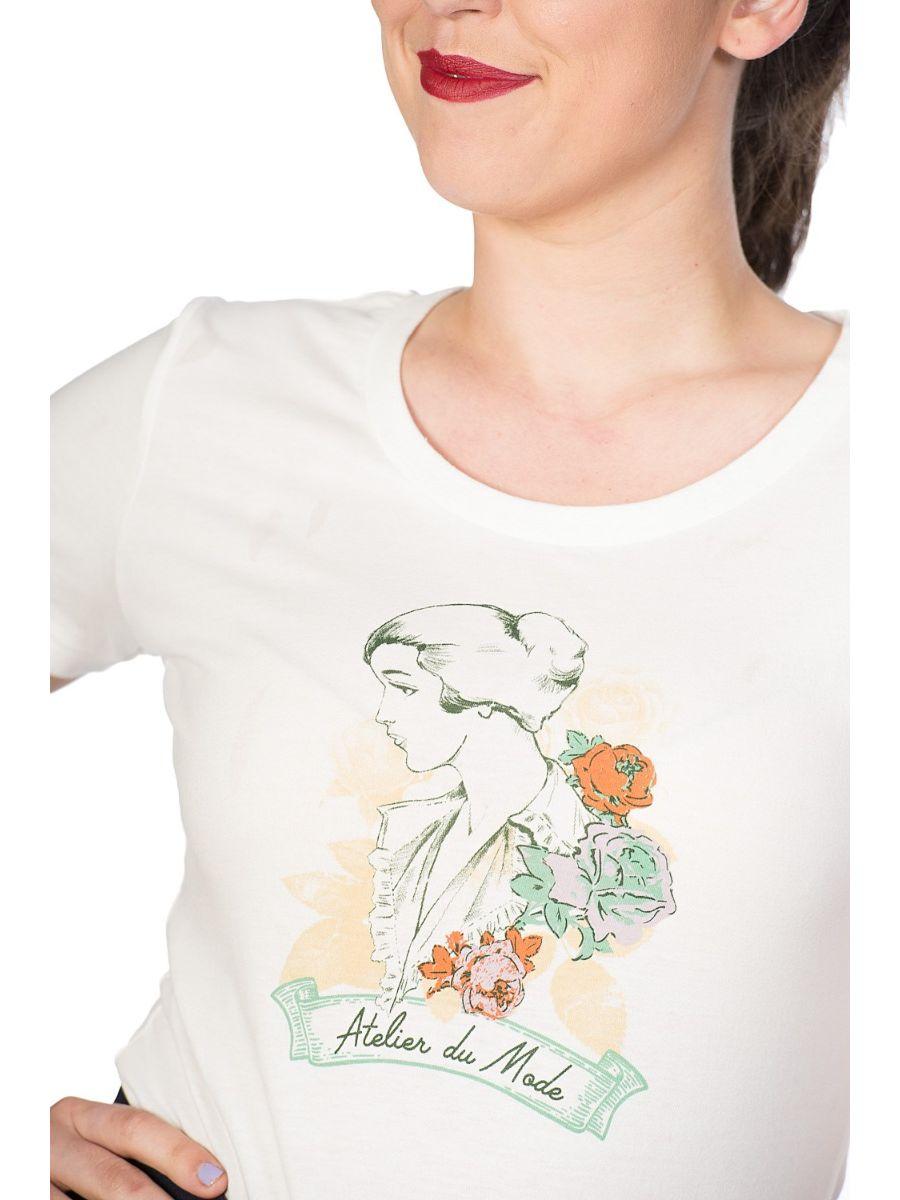 Banned Retro Floral Lady Didi Crew Neck Vintage T-Shirt White