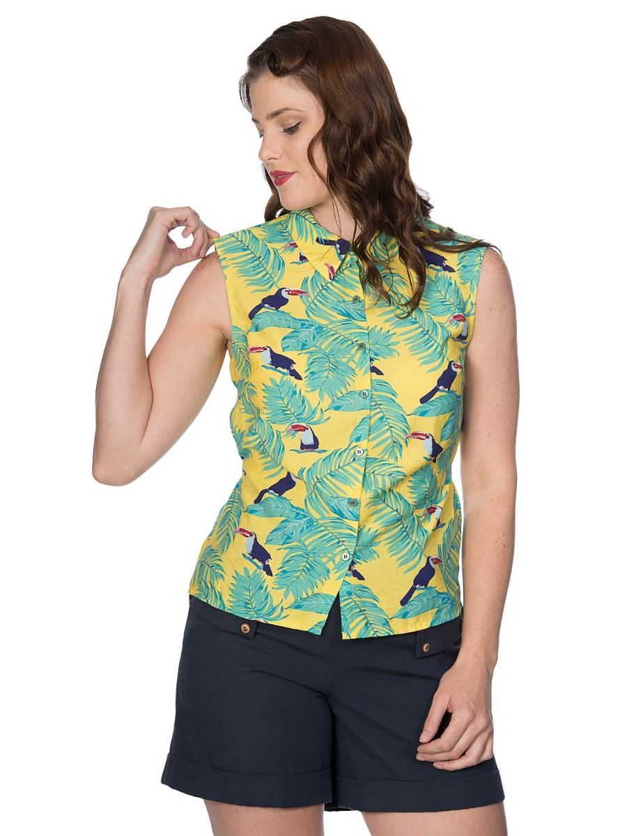 Banned Retro 1950's Toucan All Over Sleeveless Tropical Vintage Blouse Yellow