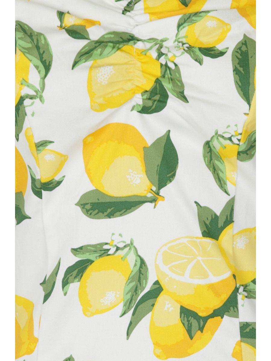 Banned Retro 1950's Lemon Off Shoulder Vintage Bardot Top White