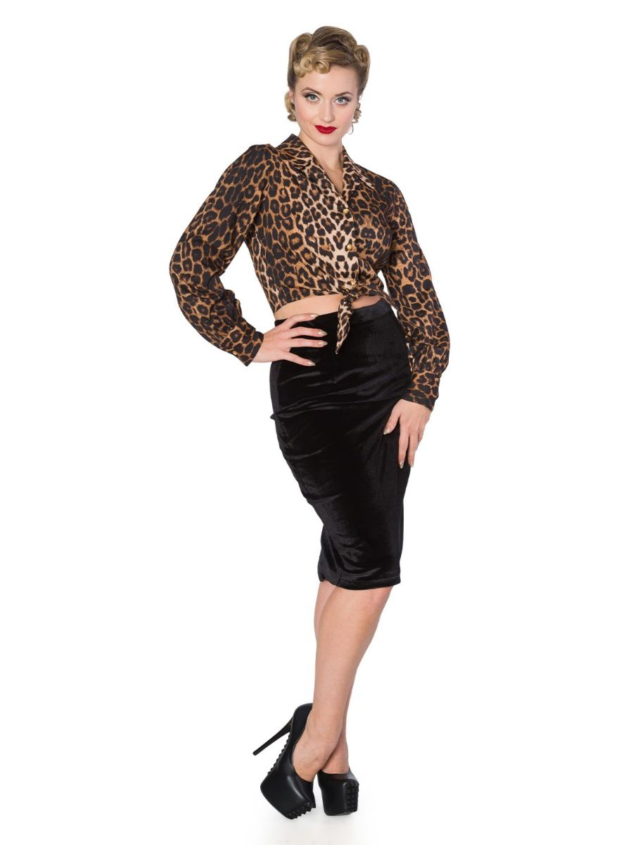 Banned Retro 1950's Leo La La Leopard Print Rockabilly Vintage Crop Top Tie Up Blouse