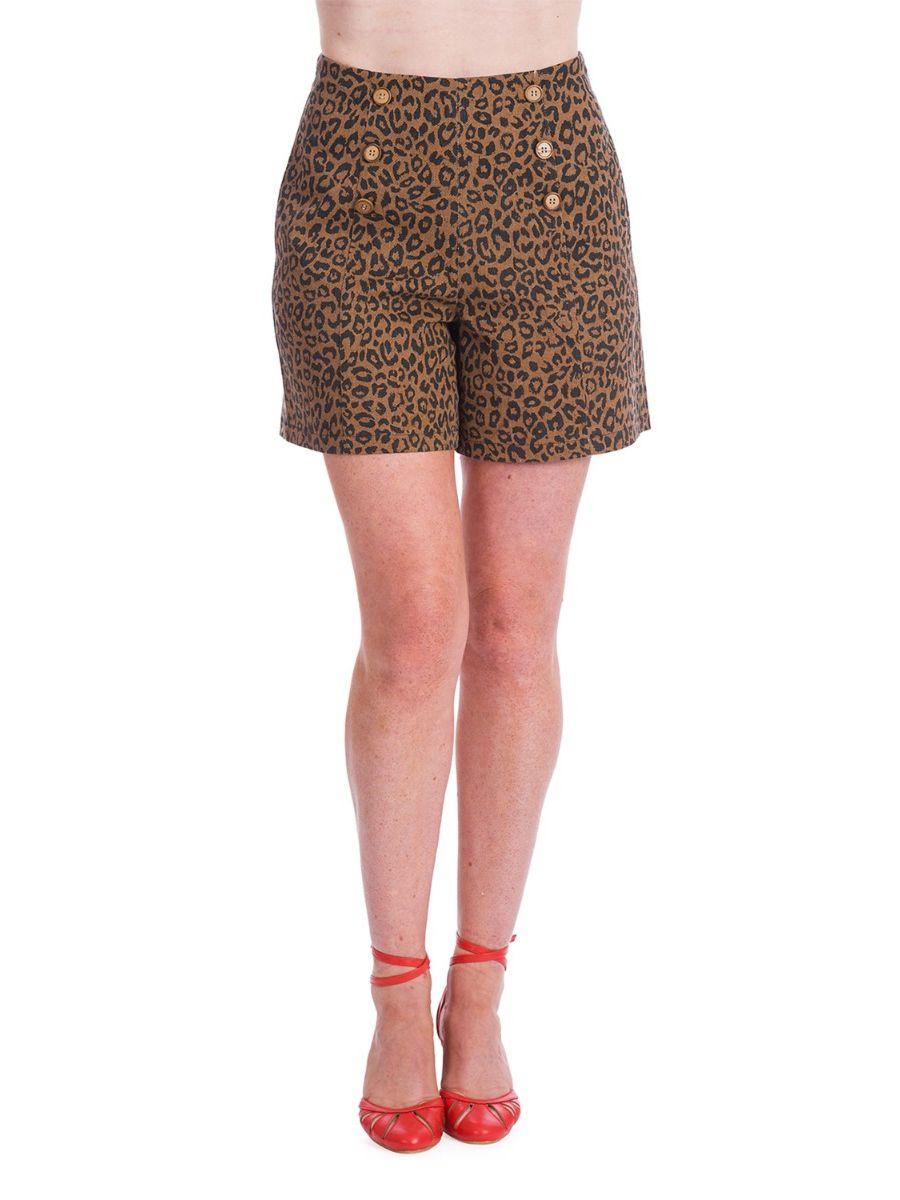 Banned Retro 60s Wild Child Leopard Print Rockabilly High Waisted Vintage Shorts Brown