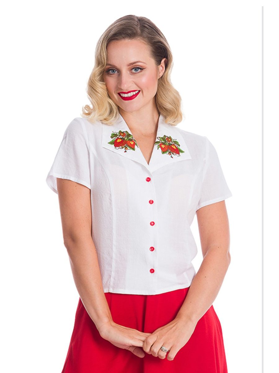 Banned Retro 1940's Strawberry Fields White Blouse