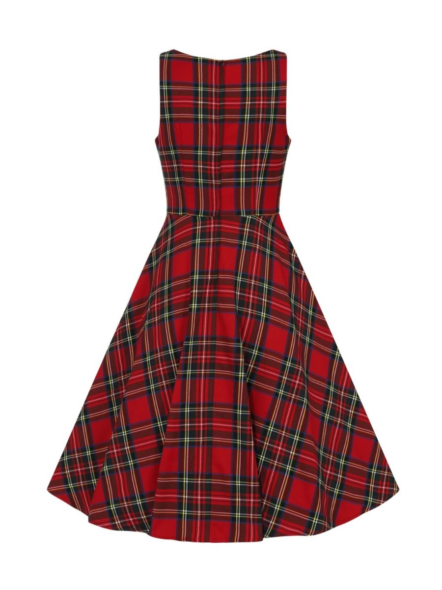 Banned Retro 1950's Tartan Girl Lady Jane Red Plaid Fit & Flare Dress