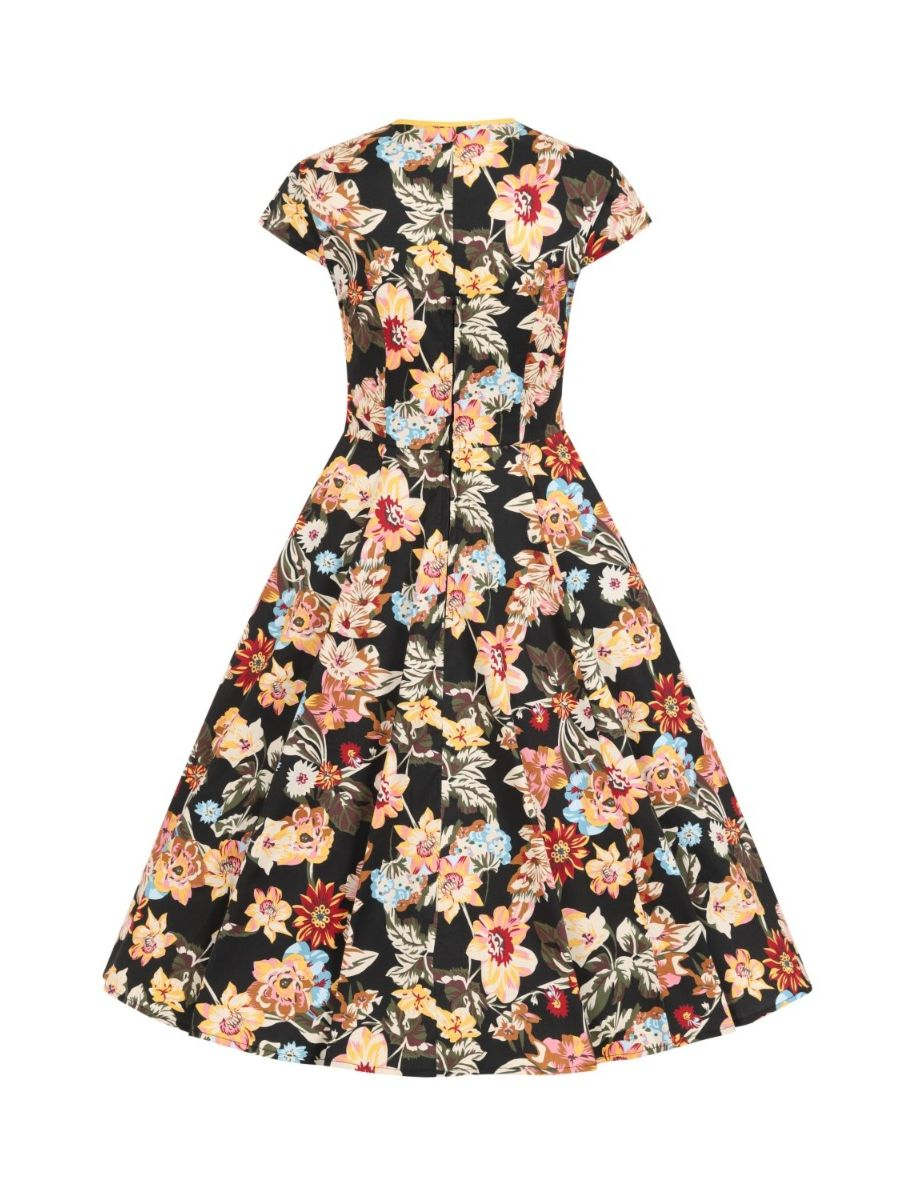 Banned Retro 1950s Pina Colada Floral Keyhole Vintage Daisy Dress With Pockets Black