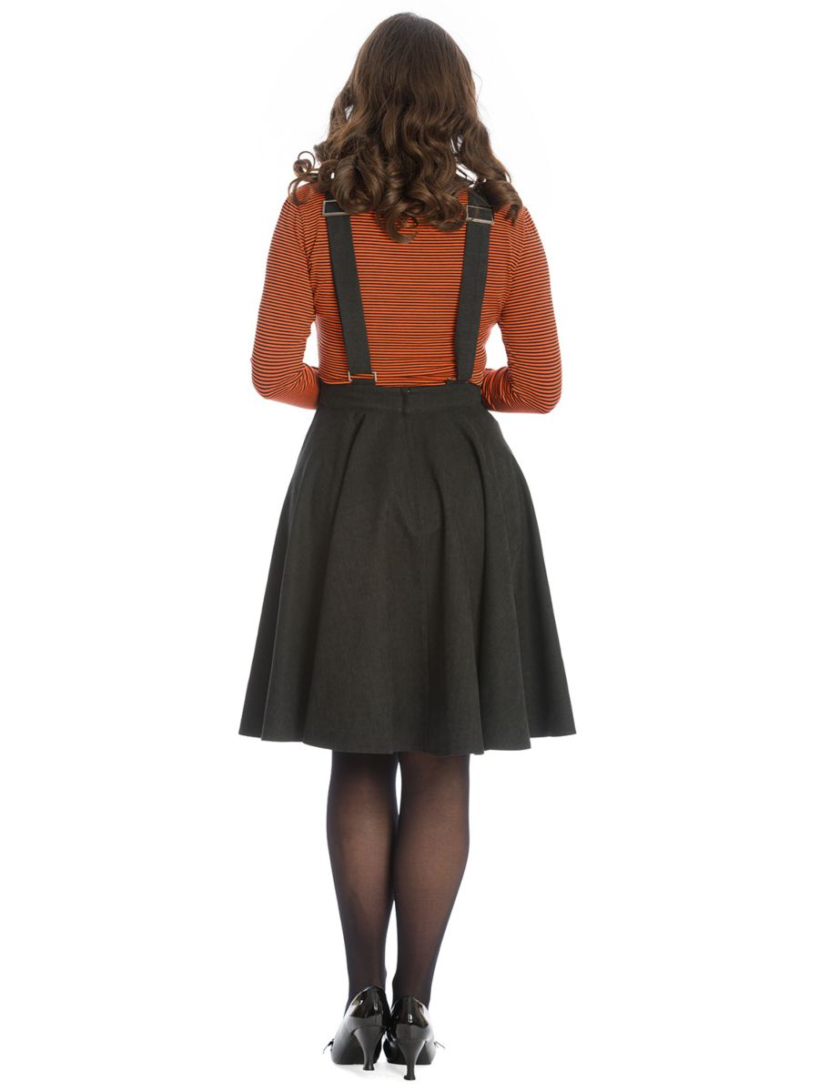 PUMPKIN SPICE & ALL THINGS NICE FLARE PINAFORE DRESS-Black