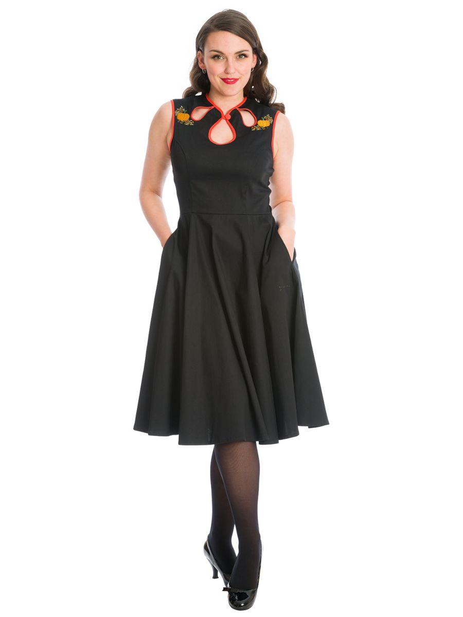 PUMPKIN SPICE & ALL THINGS NICE PUMPKIN FIT & FLARE DRESS-Black
