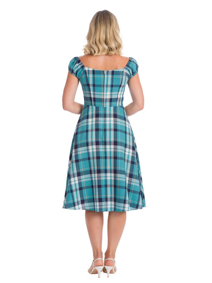 Banned Retro 1950s Treat Me Fit & Flare Check Vintage Dress With Pockets Blue