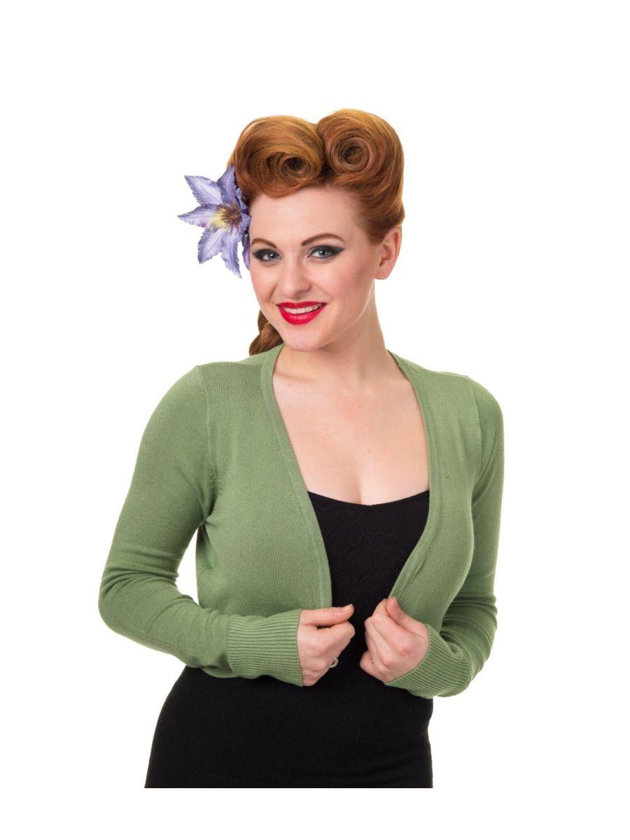 Banned Retro 1950's Flickers Anna Bolero Vintage Green