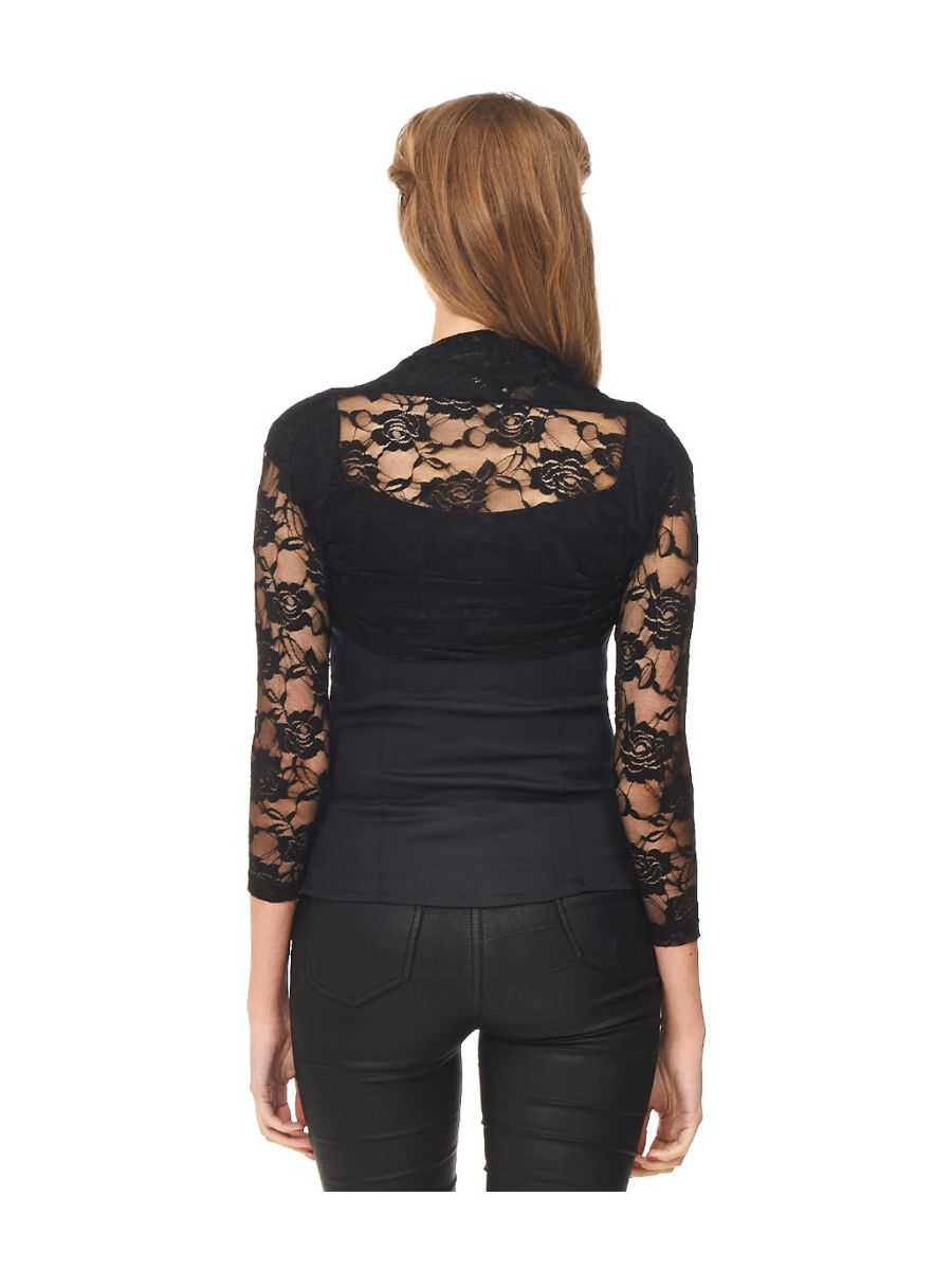 Banned Retro 1950's Lace Rose Heather Bolero Black