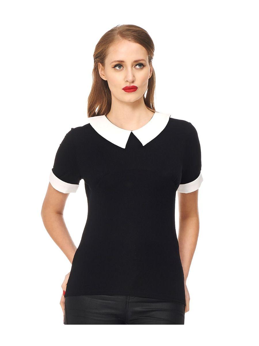Banned Retro 1950's Monument Collar Blouse Black