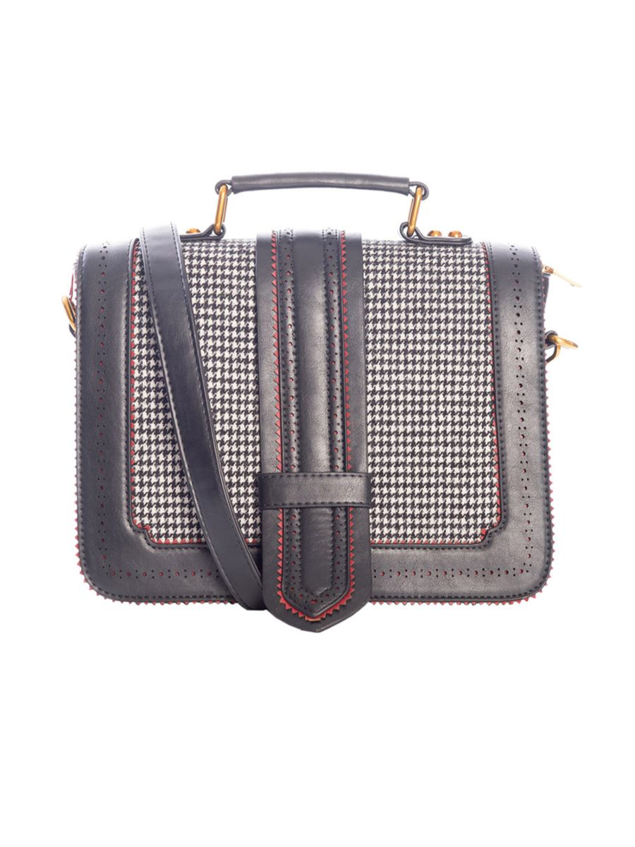 BETTY DOES COUNTRY HOUNDSTOOTH SATCHEL BAG