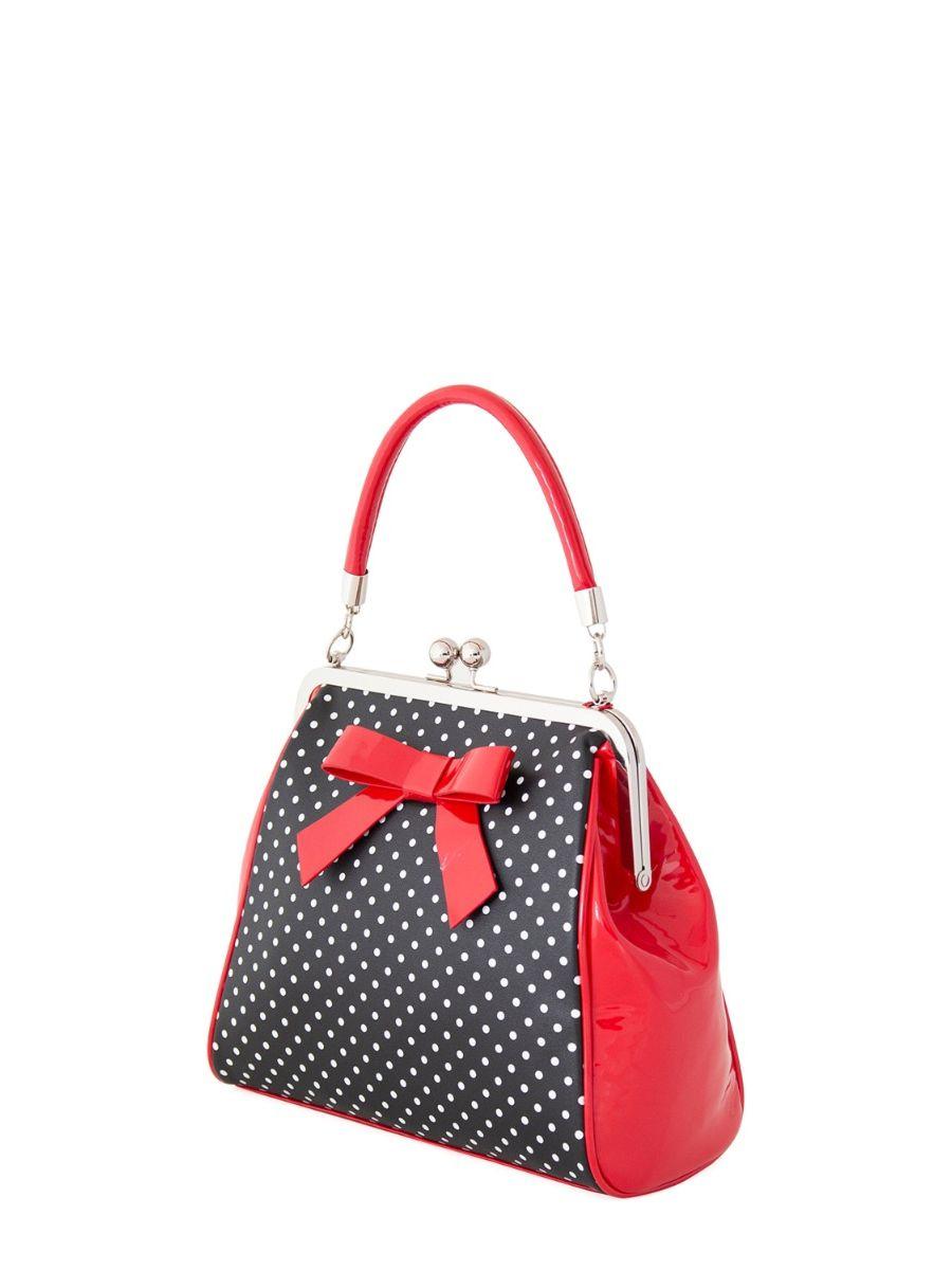 Banned Retro 1950's Polka Starr Frances Black Handbag