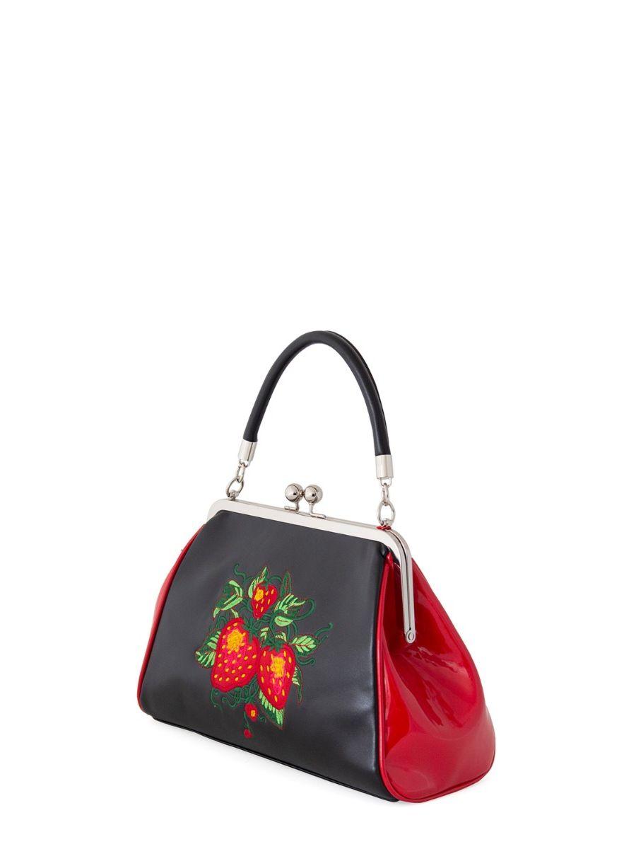 Banned Retro 1950's Garden Secrets Strawberry Frances Black Handbag