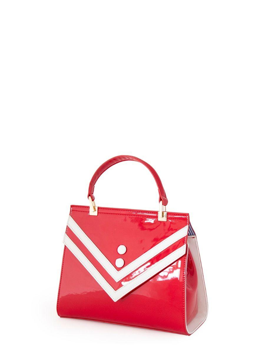 Banned Retro 1950's Serene Waters Nautical Stripe Red Handbag