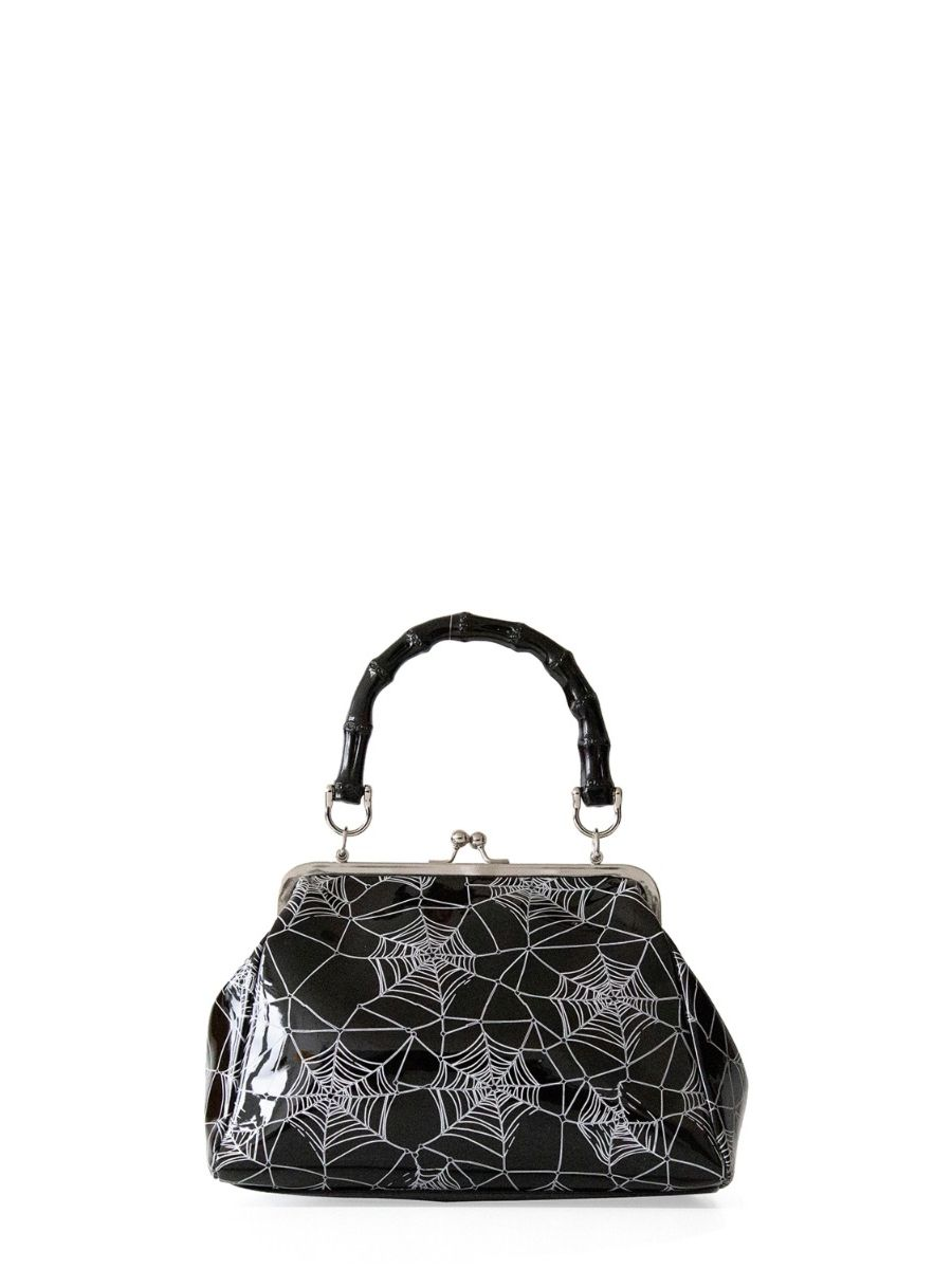 Banned Retro Killian Black Spider & Webb Frances Handbag