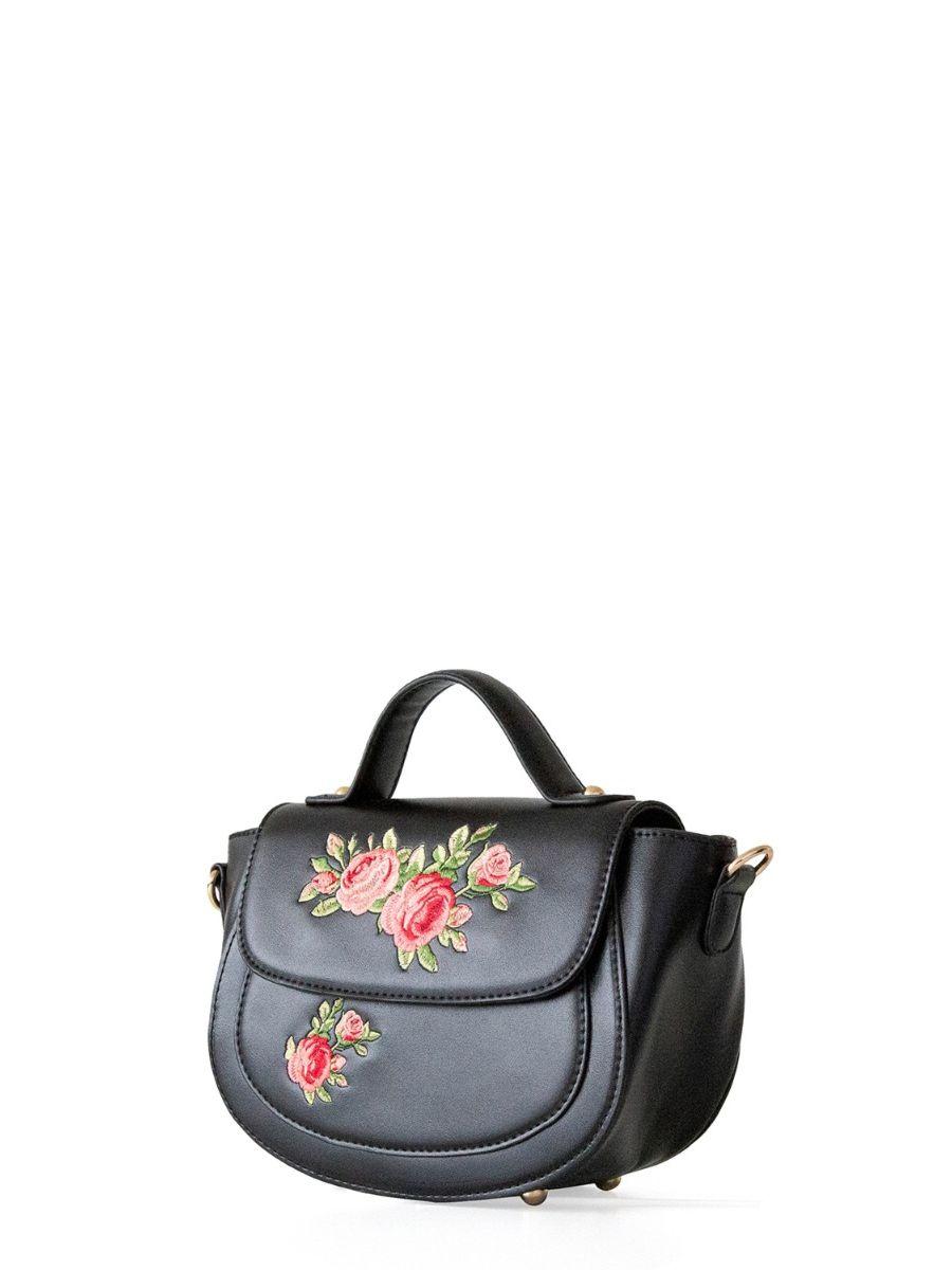 Banned Retro Pretty Passion Floral Malibu Black Handbag