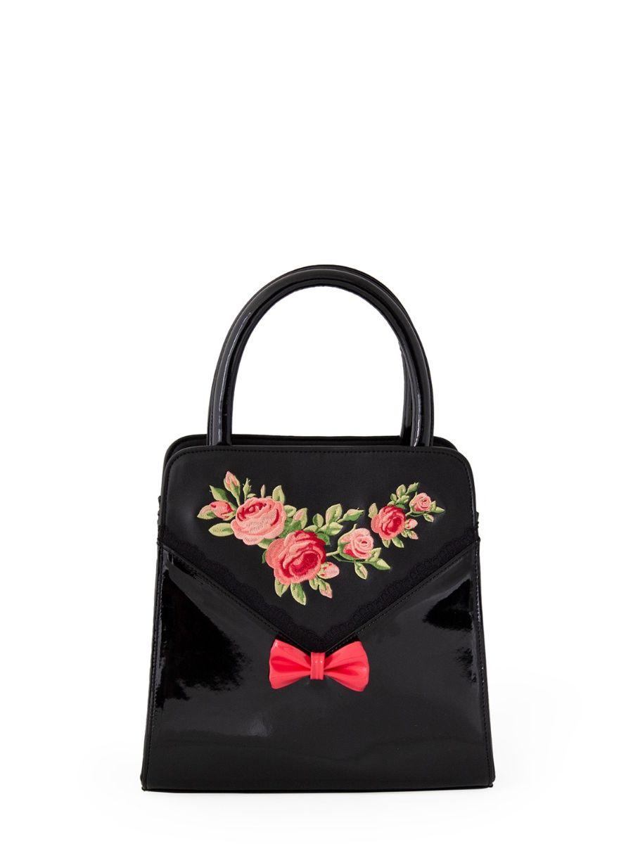 Banned Retro 1950's English Rose Bow Carla Black Handbag