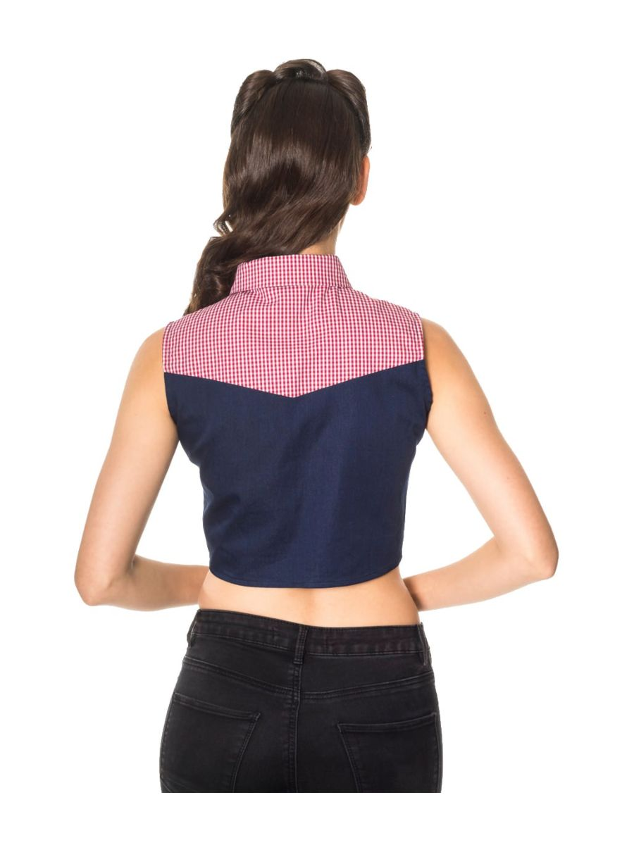 Banned Retro 1950's  J'adore Tie Up Crop Gingham Check Denim Blouse Navy