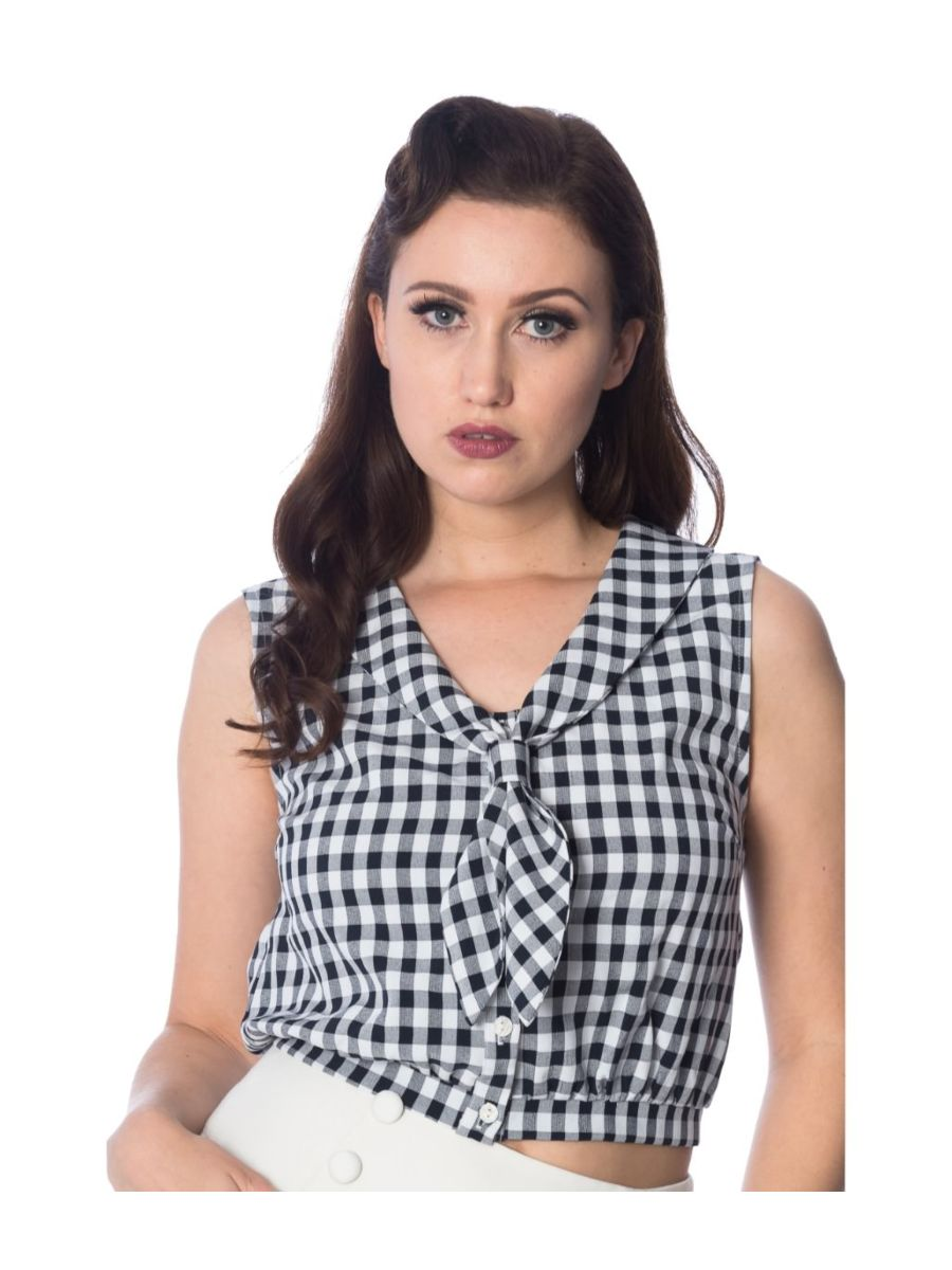 Banned Retro 1950's Summer Breeze Gingham Check Tie Up Crop Blouse Black & White
