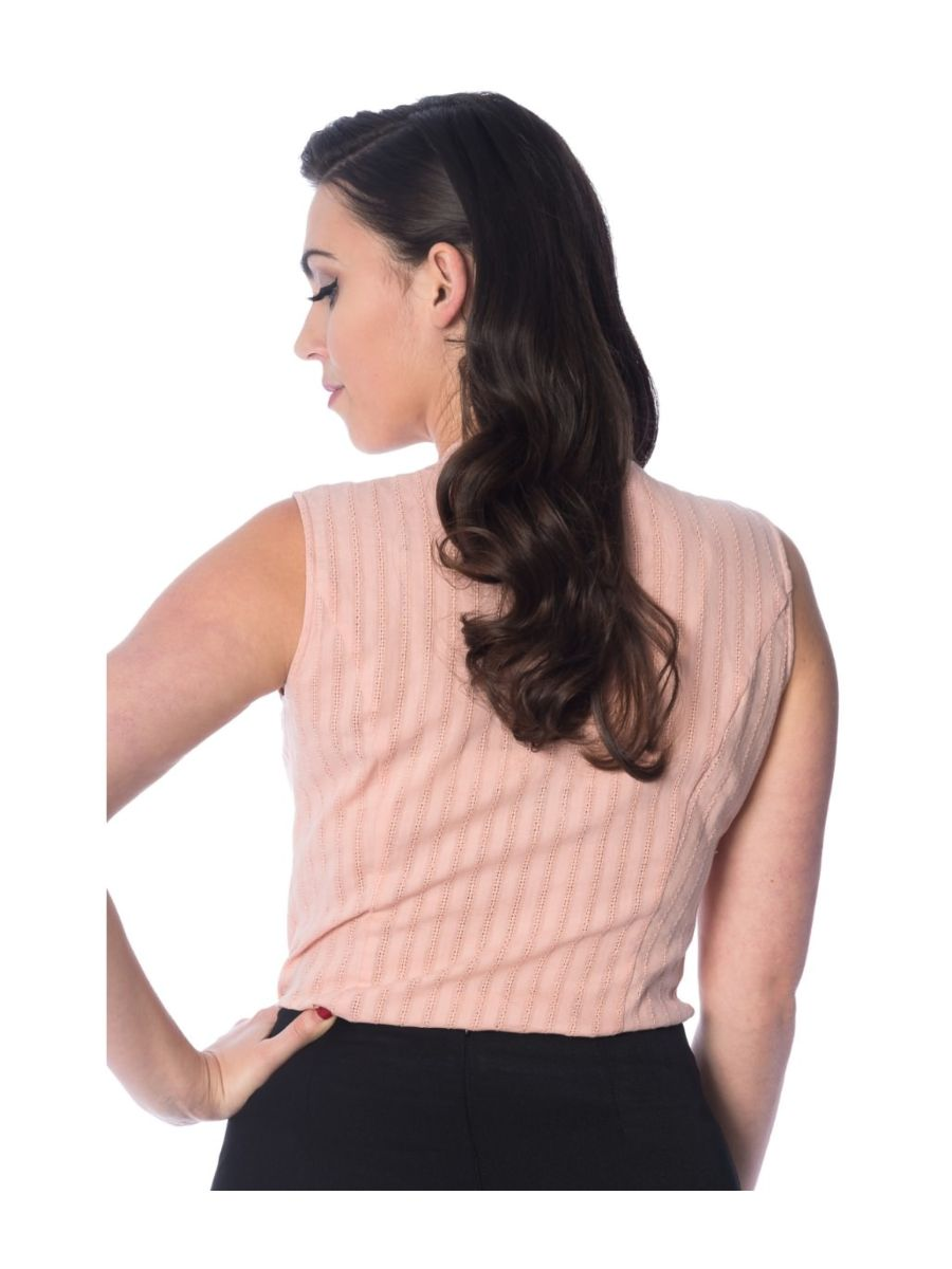 Banned Retro 1950's Make a Wish Tie Blouse Pink