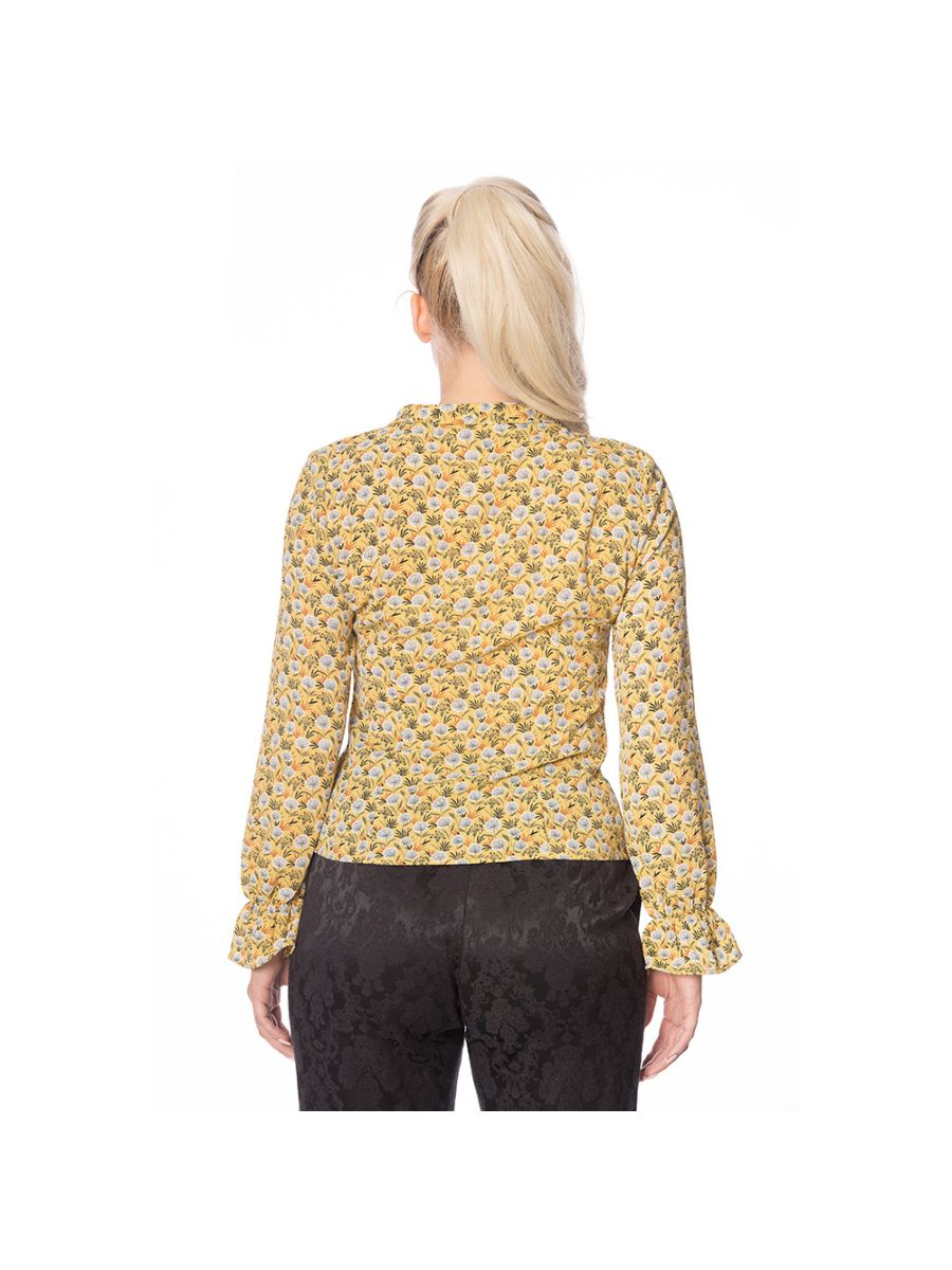 Banned Retro 1950's Ruffle My Feathers Dandelion Floral Frill Sleeve Blouse Mustard