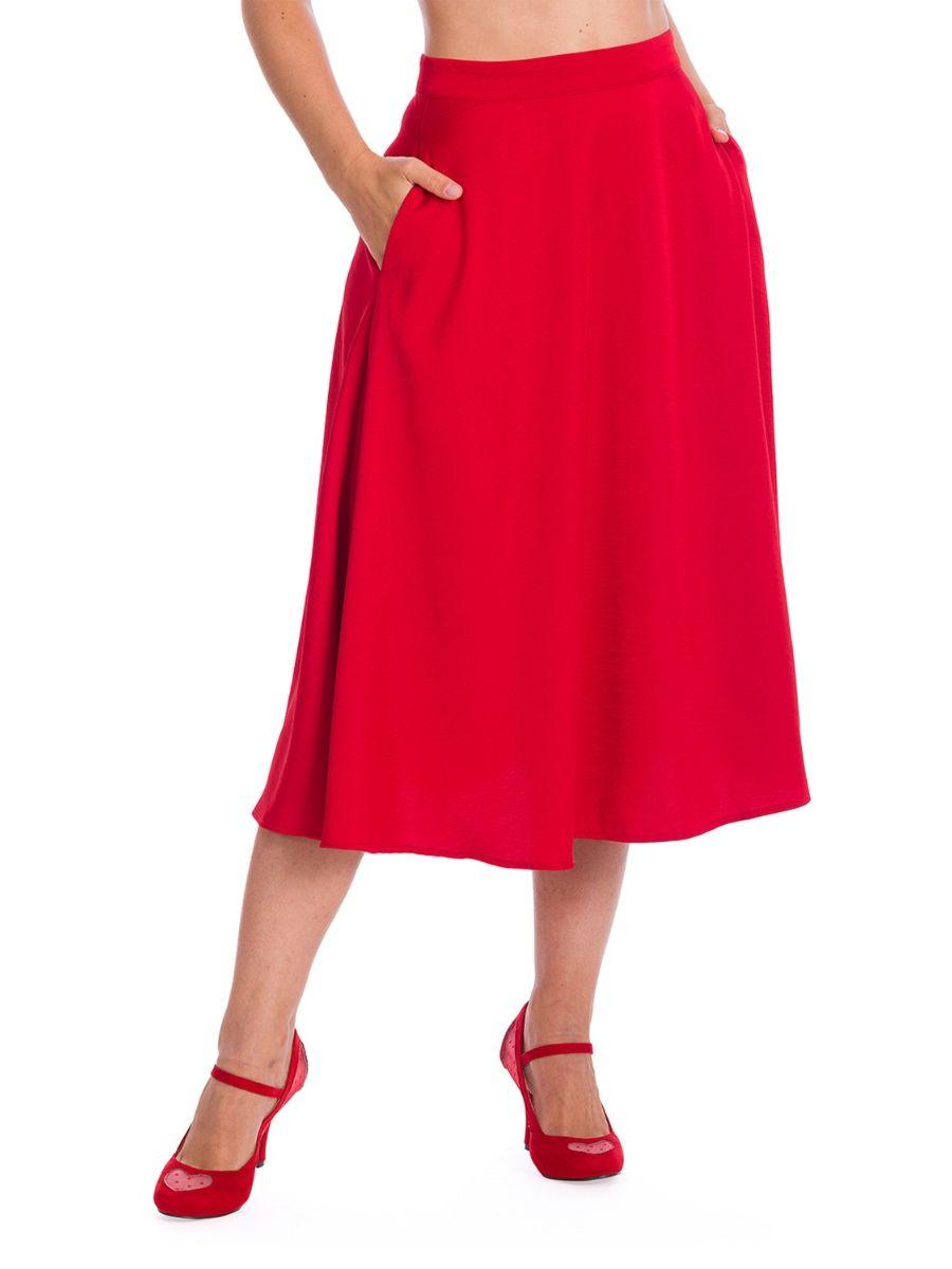Banned Retro 1940's Strawberry Red Swing Skirt