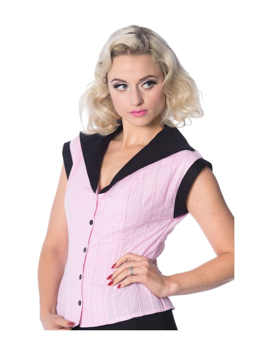 Banned Retro 1950's Grease Gingham Check Rita Blouse Pink