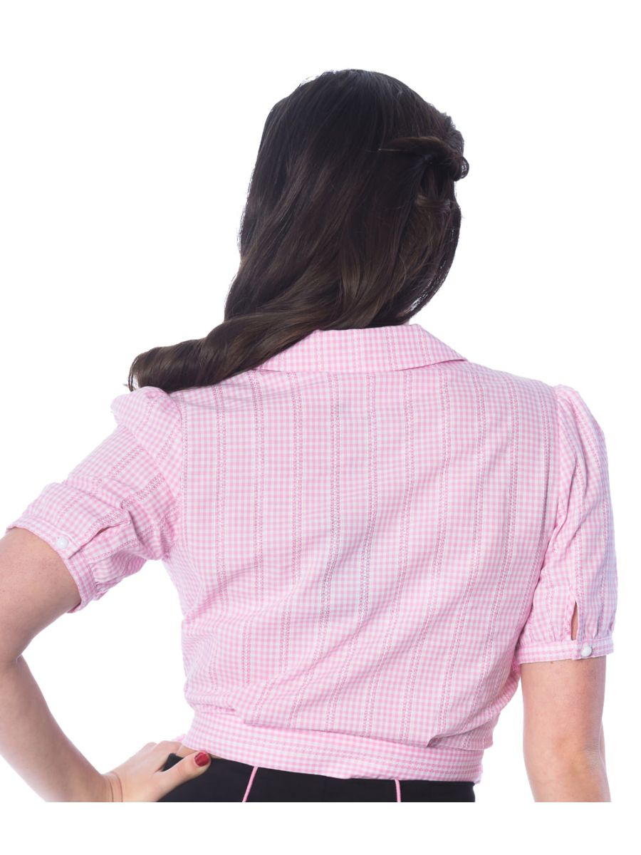 Banned Retro 1950's Grease Gingham Check Wrap Crop Blouse Pink