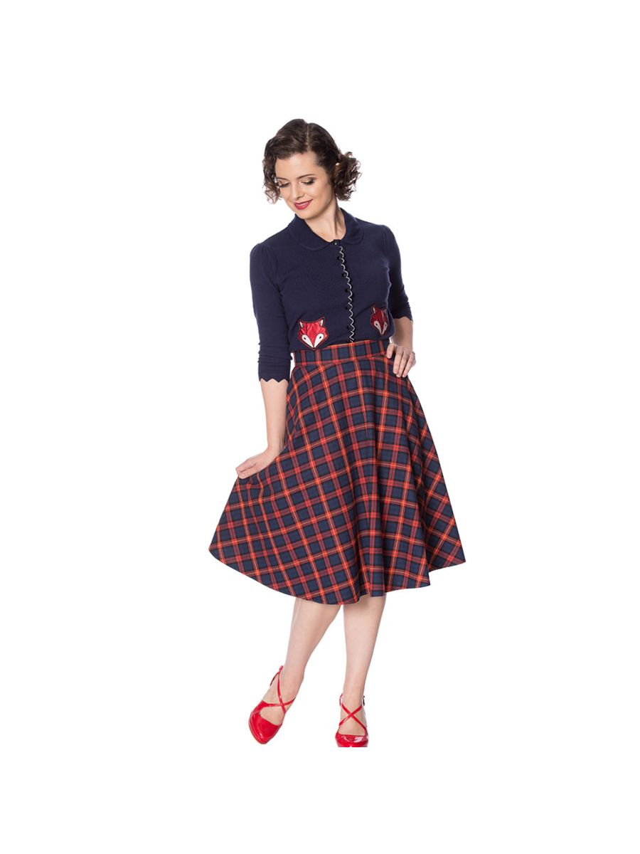 MRS CLAUS PLEATED CHECK SKIRT