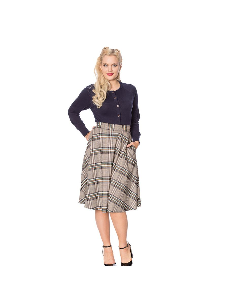 LADY OLIVE CHECK SKIRT