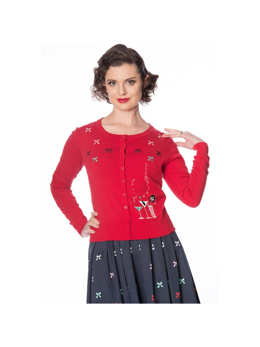 Banned Retro 1950's Christmas Cocktails Vintage Gina Cardigan Navy
