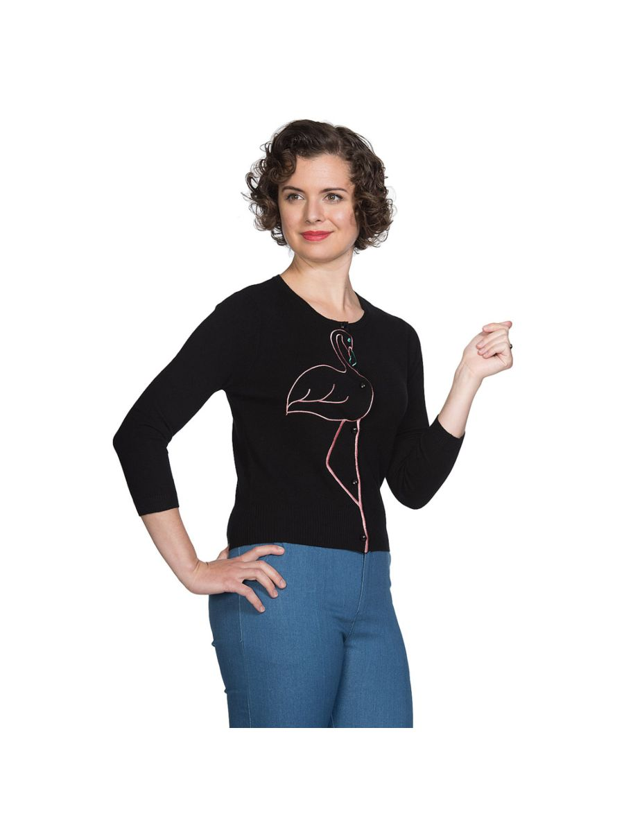 Banned Retro Flamingo Honnie Vintage Mara Cardigan Black