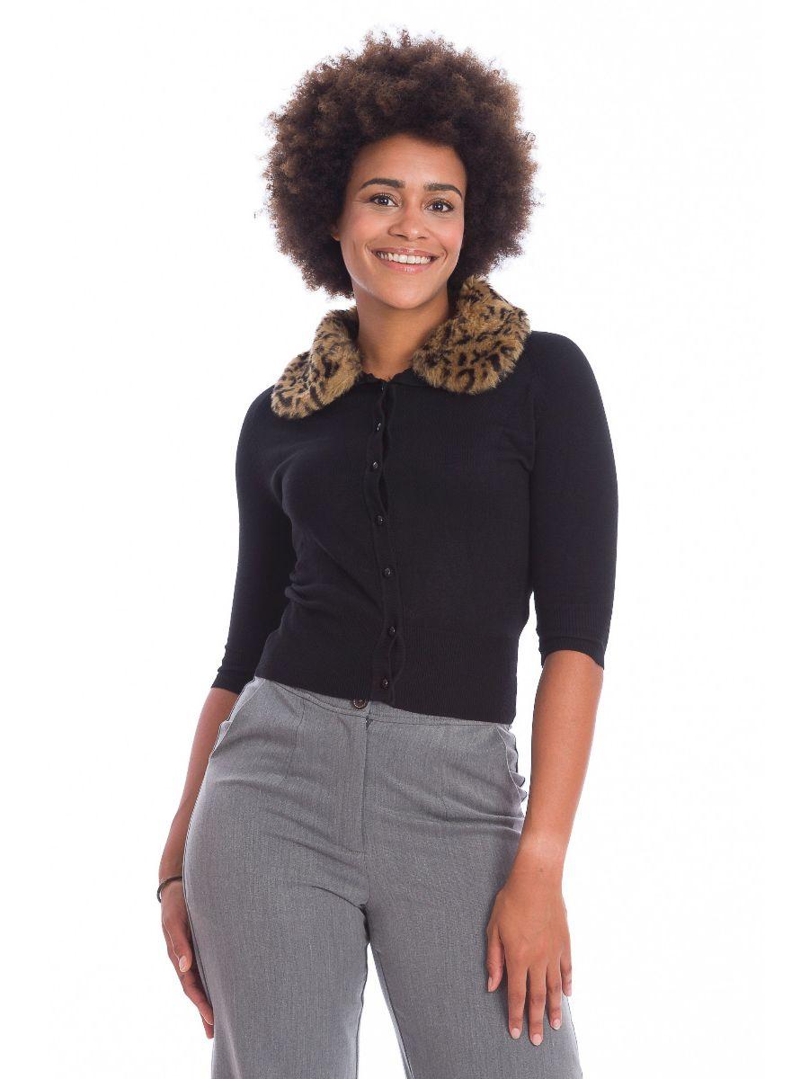 Banned Retro 1950's Leopard Faux Fur Vintage Anita Cardigan Black