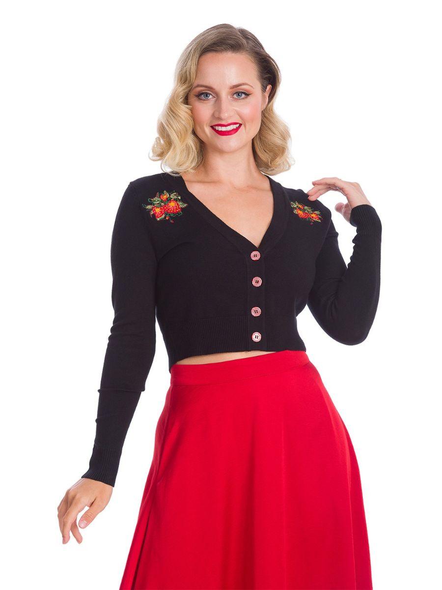 Banned Retro 1950's Strawberry Fields Crop Cardigan Black