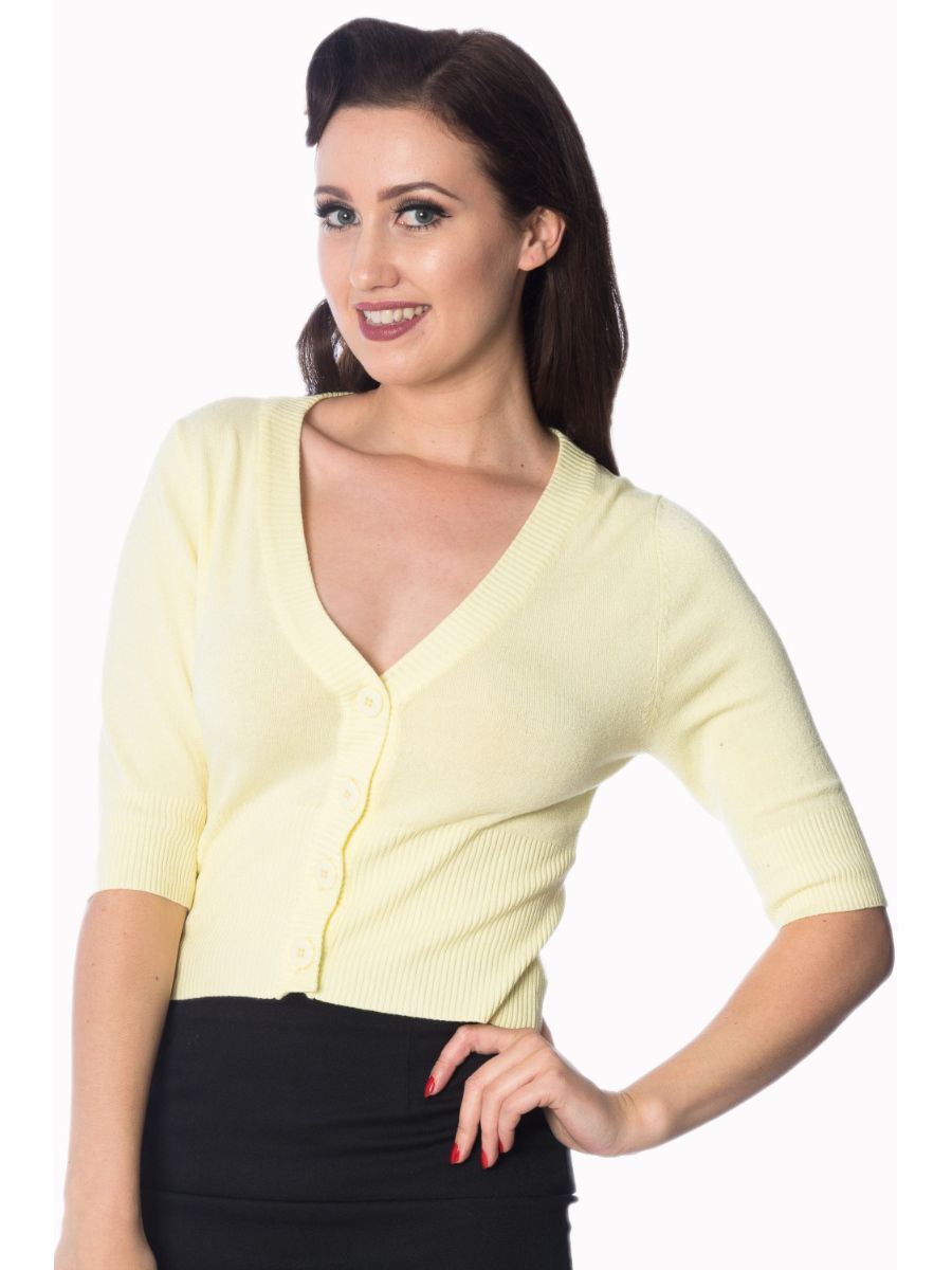 Banned Retro 1950's Overload V-Neck Cropped Vintage Cardigan Yellow