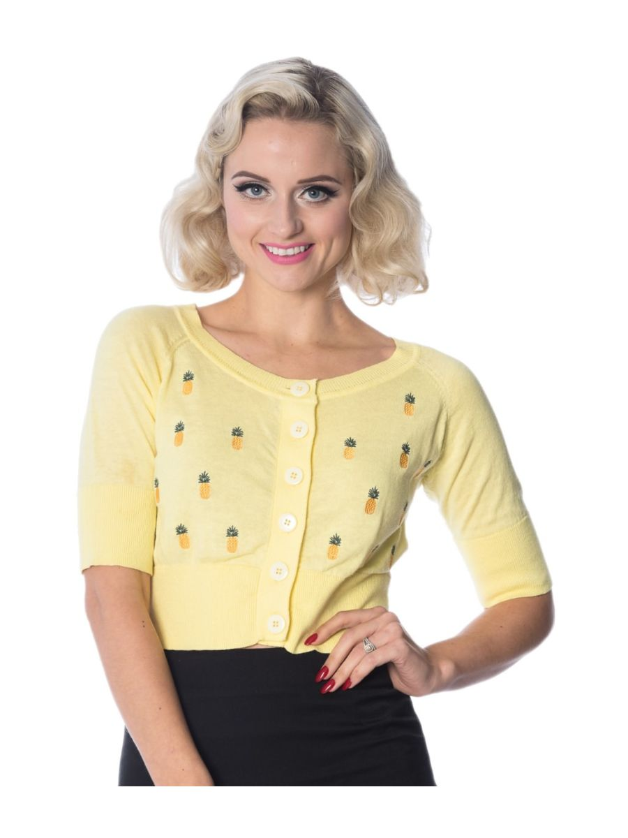 Banned Retro 1950's Pineapple Cropped Vintage Cardigan Yellow