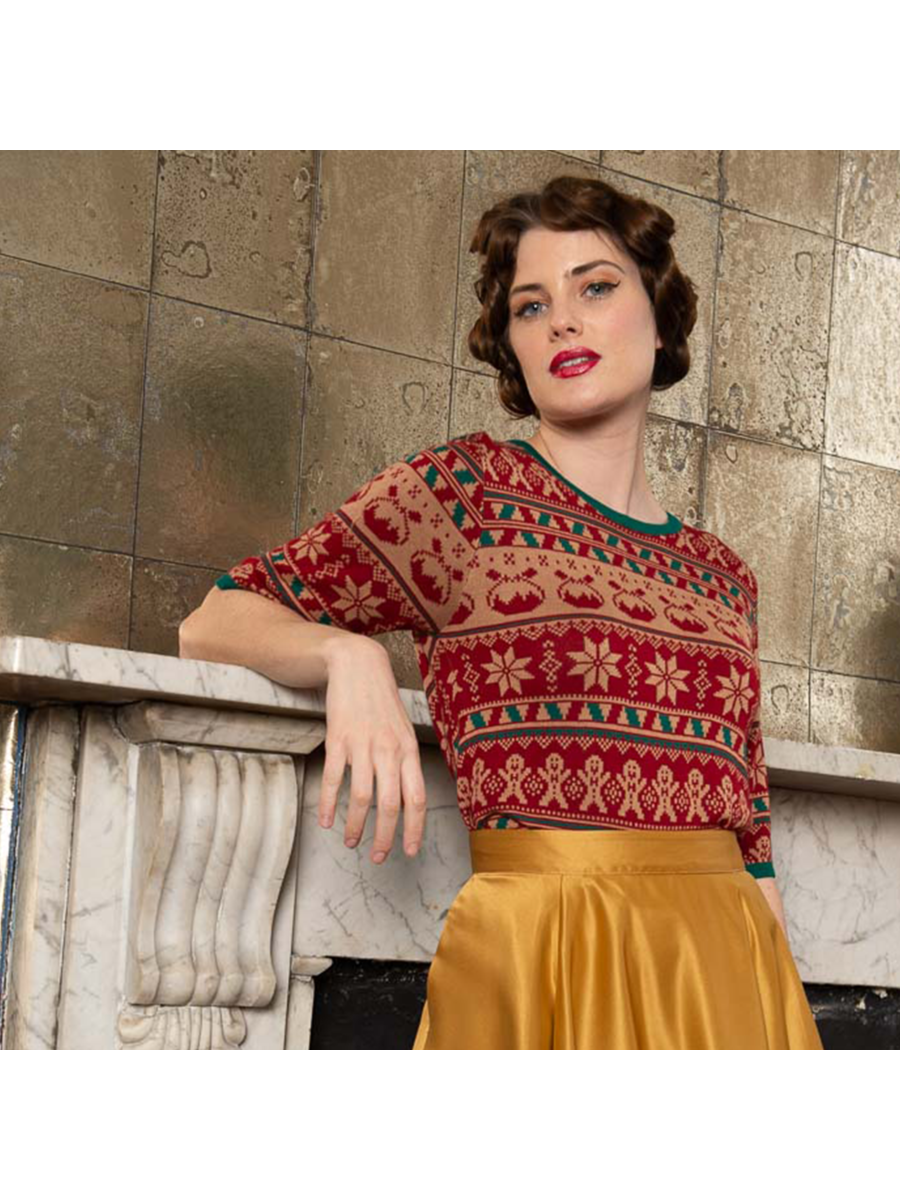 Banned Retro 1950's Christmas Pud Jacquard Vintage Ruby Jumper Brown
