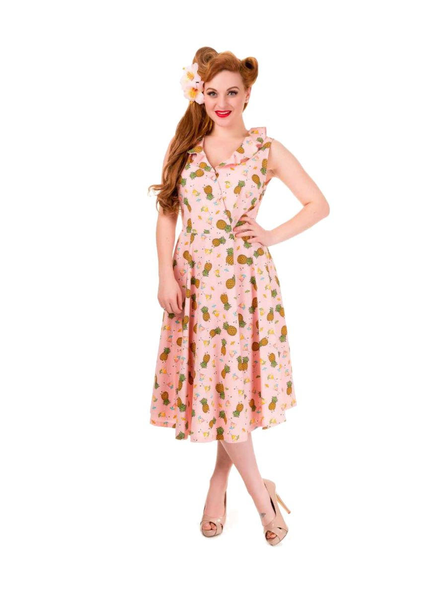Banned Retro 1950's This Love Pineapple Sleeveless Vintage Dress Pink