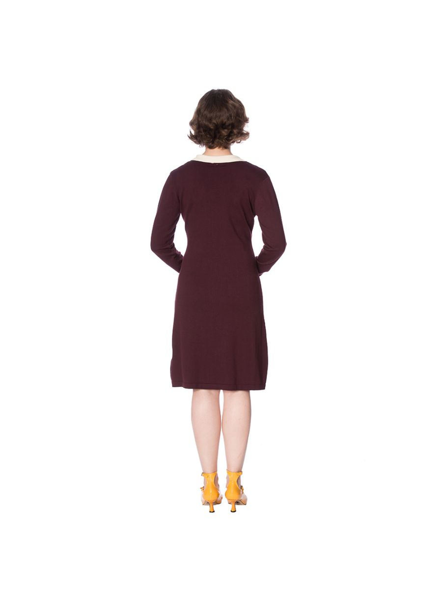 CONTRAST COLLAR JUMPER DRESS
