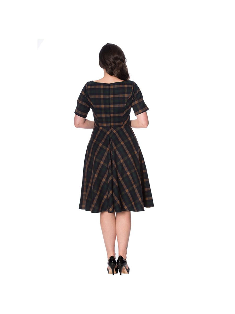 SWEET DAISY FIT AND FLARE CHECK DRESS