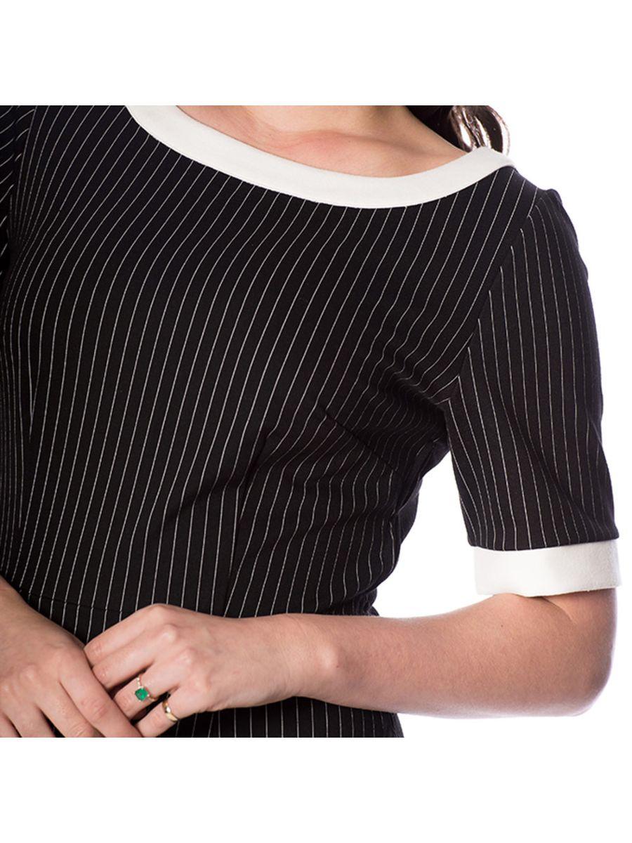 POWER WOMAN PENCIL PINSTRIPE DRESS