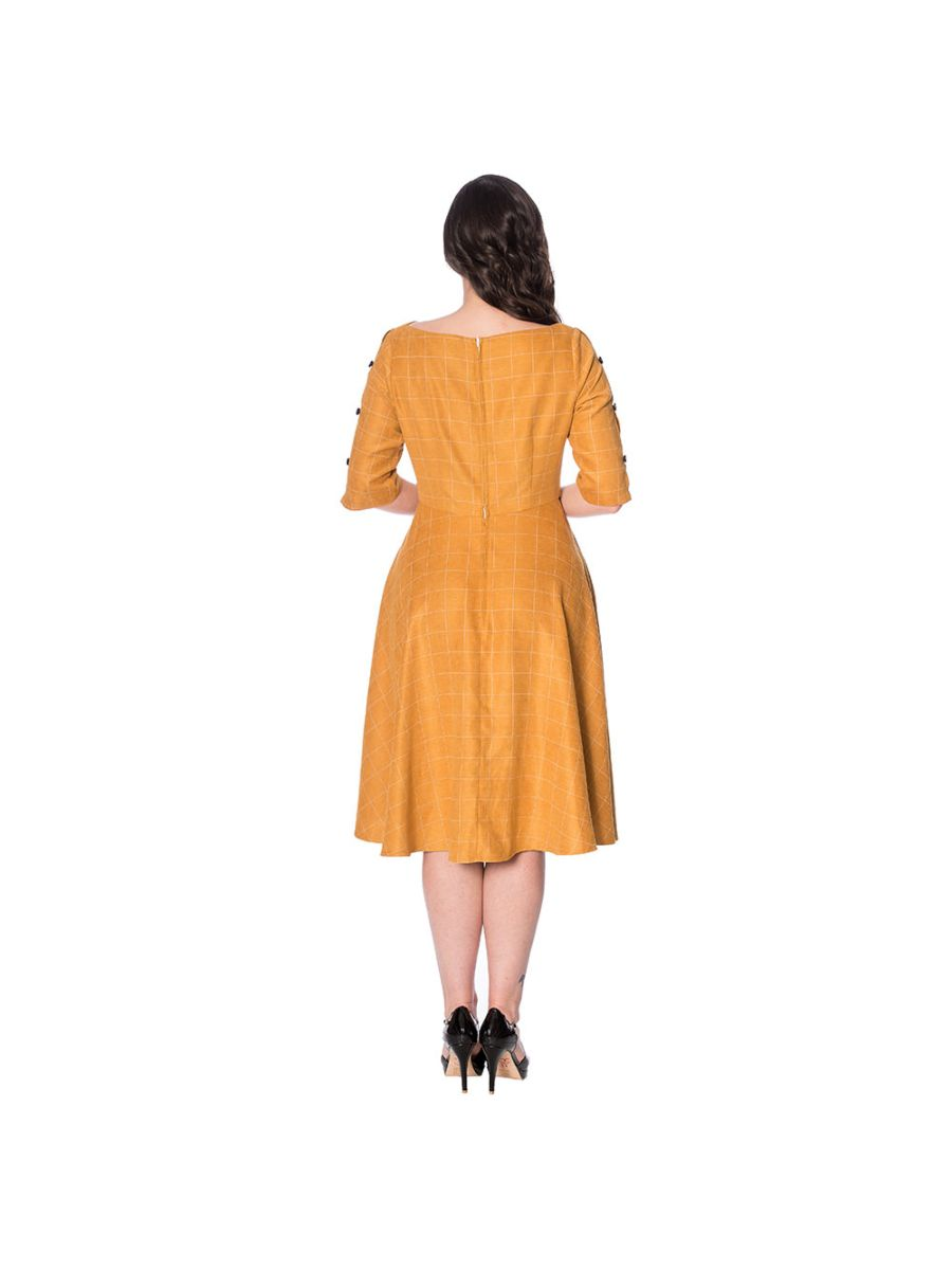LET'S LIBRARY CHEEKY CHECK FIT AND FLARE DRESS
