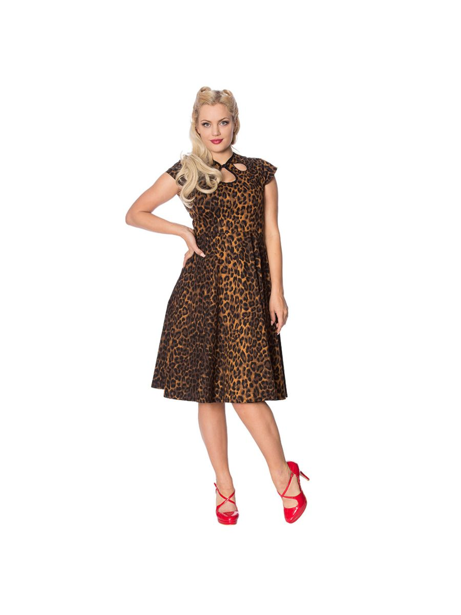 ANIMAL INSTINCTS FIT AND FLARE LEOPARD DRESS