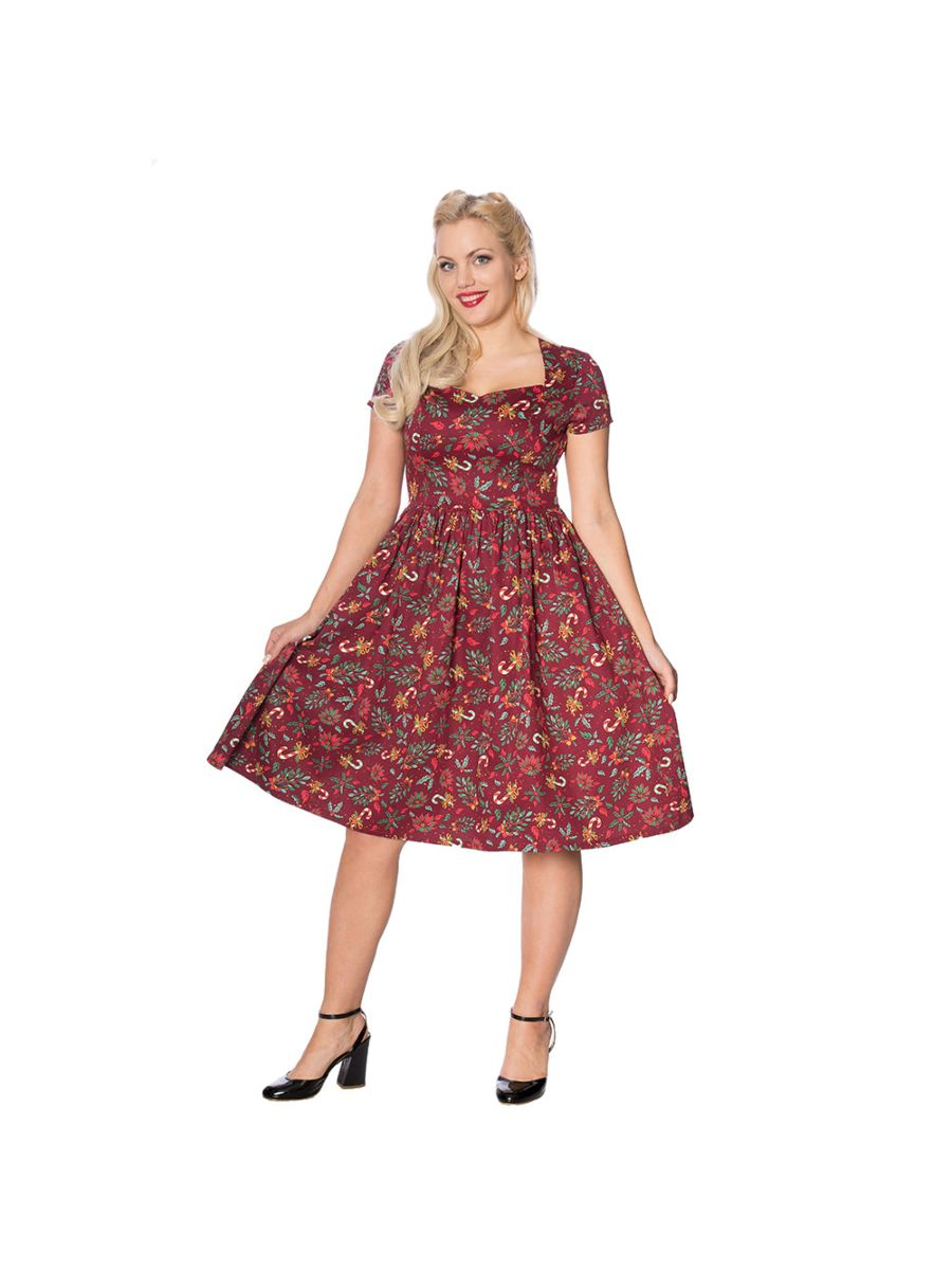 CANDY CANE QUEEN FIT AND FLARE DRESS