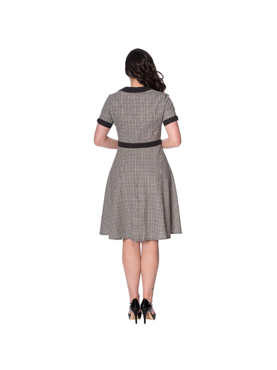 BRAINS AND BRAWN CHECK FIT AND FLARE DRESS