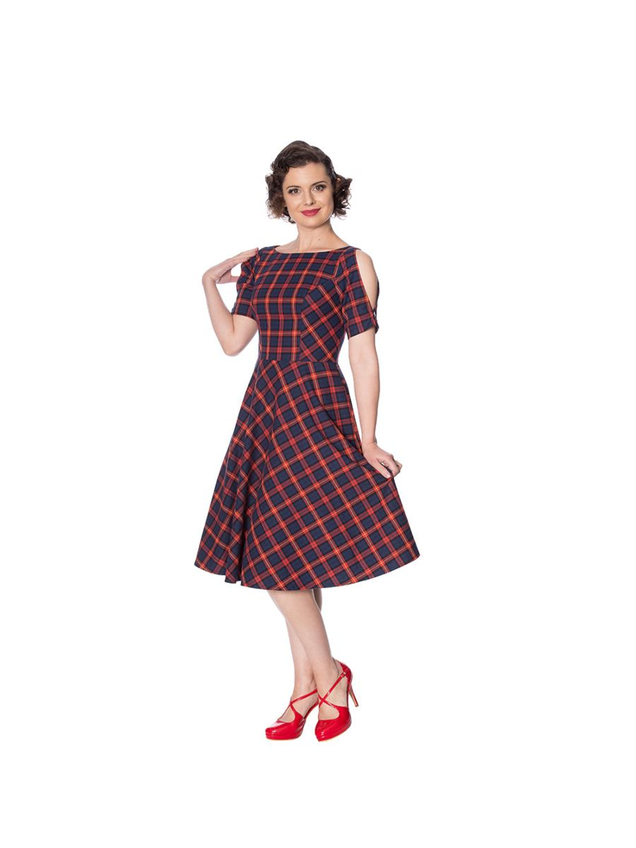 MRS CLAUS FIT AND FLARE CHECK DRESS