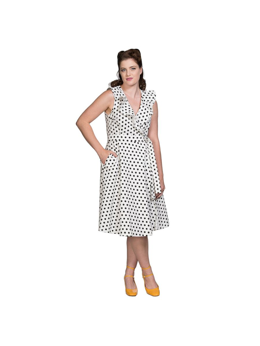 POLKA WRAP FIT & FLARE DRESS
